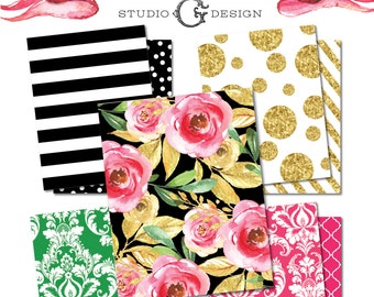 Kate Inspired Designer Digital Paper Pack  --  Black and White Stripes Gold Glitter Pink Damask Green Lattice