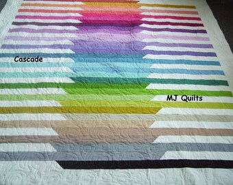 """Handcrafted-Robert Kaufman """"Cascade""""  Queen/Full Quilt-Made in USA by MJ Quilts- Approximately 75"""" X 78'"""
