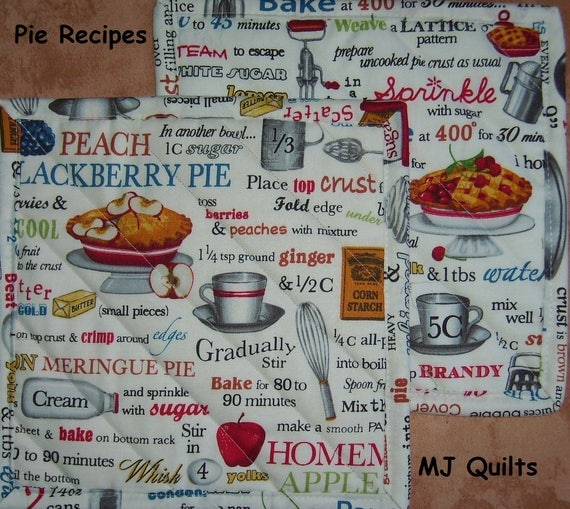 "Pick a Print-Pie Recipes-Junk Food-Cupcakes-Set of 2 (8"") Quilted-Handmade-Insulated-Hot Pads-Pot Holders--Made in USA by MJ"