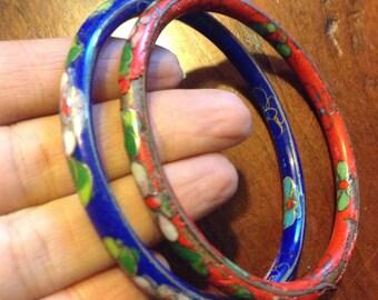 2 Cloisonne Enamelled Bangles Bracelets