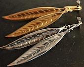 Leaf Earrings Simple Earrings Sterling Silver Earrings Gold Earrings Extra Long Earrings Dangle Earrings Drop Earrings Jewelry Gift For Her