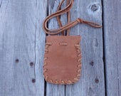 Leather neck pouch , handmade leather bag , small leather pouch, brown rust bag , handmade necklace pouch , leather pouch , medicine bag