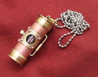 Steampunk jewelry, copper and brass stash necklace
