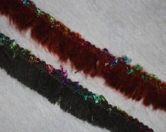 "5 yards Confetti Rust or Olive Green Rainbow chenille Fringe Trim 1"" wide"