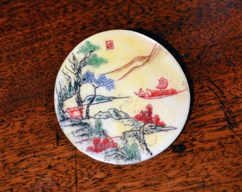 Oriental bone brooch/ vintage pictorial brooch signed/carved hand painted bone plaque/ Chinese/Japanese brooch/antique landscape brooch boat
