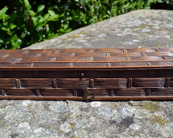 Black Forest box basket weave/ antique carved box/ vintage hinged box/ Victorian box/pencil box/brush box/ pen box/ fan box/  wood carving