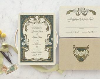Wedding Invitations, Wedding Invitation Set, Greenery Wedding Invitation, Art Deco Wedding, Art Nouveau Inspired - Le Marguerite