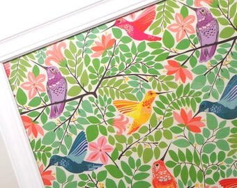 Magnet Board - Magnetic Memo Board - Dry Erase Board - Framed Bulletin Board - Office Wall Decor - Hummingbird Design - inclds magnets