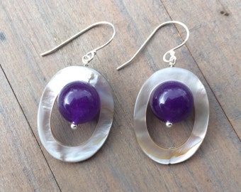 Earrings Amethyst Mother of Pearl. Sterling silver. Handmade jewelry