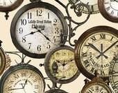 Train Station Clocks Cream from Railway Express line for Benartex - Full or Half Yard Antique Clocks