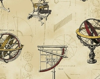 Galileo from Windham Fabrics - Full or Half Yard Astronomy Globes, Telescopes, Schematics