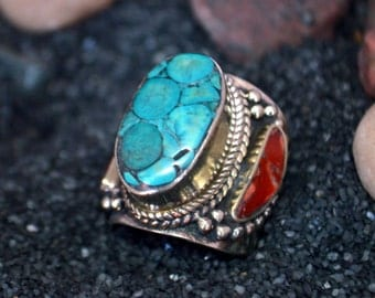 Silver Tribal Ring-Turquoise Coral Ring-Free Shipping-US Size 10 & 11 ring Navajo ring-Nepal ring-Afghan Jewelry-Kuchi-Kucchi Tribal  silver