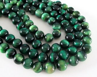 """Green Tiger Eye Round Beads - Grade A Natural Green Tiger's Eye Beads - Enhanced Color - Smooth Gemstone - 7.5"""" Strand - 8mm -Jewelry Making"""