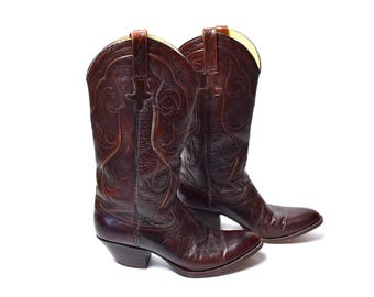 Chocolate and Cordovan Cowboy Boots by Dan Post, Made in Spain, Size 8 C - Excellent Condition