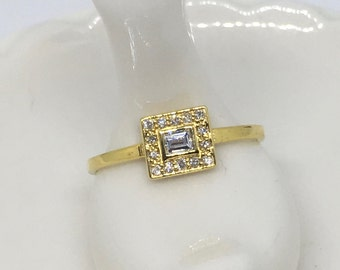 Diamond and 18k Yellow Gold Ring, Barely There Gold Ring, 18k Gold Ring, Made to Order
