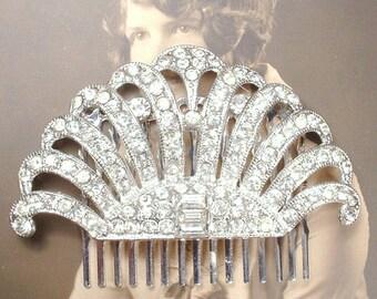 Antique Bridal Headpiece, Art Deco Hair Comb, Vintage Rhinestone Flapper Fan Silver Paste Dress Clip 1920 Wedding Accessory Hairpiece Gatsby