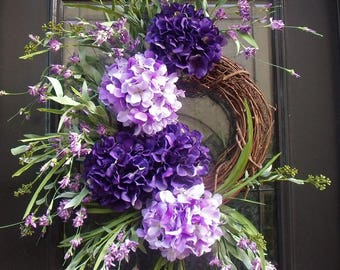 Purple Spring Wreath, Floral Door Wreath, Spring Wreaths For Door, Hydrangea Wreath, Spring Summer Wreath Decor, Door Wreath