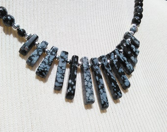Snowflake Obsidian Fan Necklace