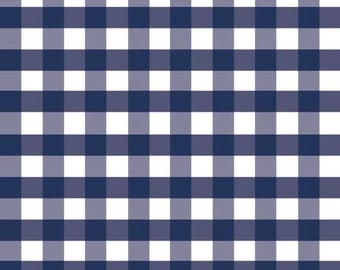 Navy Blue Large Gingham Cotton Fabric from Riley Blake Designs