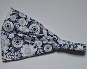 Yoga Headband Cotton Bandana - White Blue Floral fabric