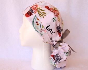 Surgical PonyTail Scrub Hat for Women - Scrub Hat, Pony tail, Pink background, Global Love