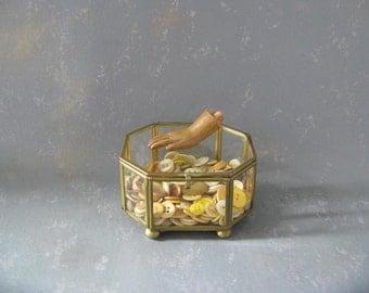 Vintage Brass and Glass Display Box, trinket box, Shadow box, geometric, 8 sided