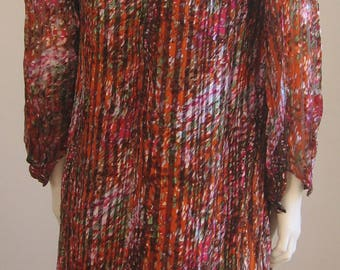 silk multicolored 70s vintage dress
