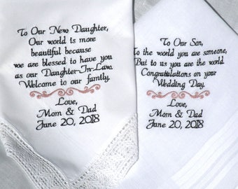 Daughter Son Wedding Daughter Wedding Son Wedding Son In law Daughter in Law Future Daughter Future Son Wedding Gift By Canyon Embroidery