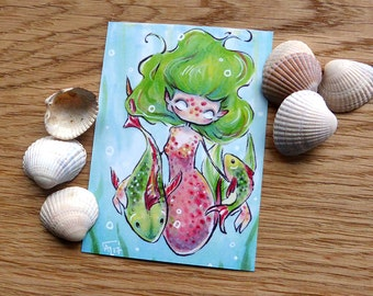 PRINT ACEO - Swimming with the fishes