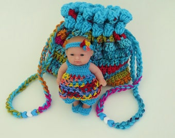 Cradle Purse with Berenguer Doll, Blanket, Pillow, Bottle and Rattle