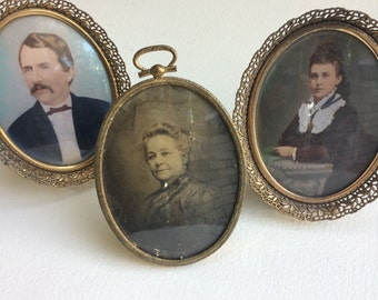 Three Antique Photo Portraits in Metal Frames