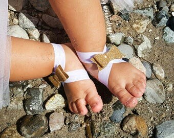 Baby Girl Barefoot Sandals & Headband; You Choose Color; Faux Leather Nylon Bow Headband and Bow Sandals; Infant sandals; nylon bow