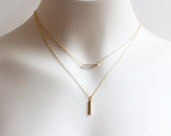 Rhinestone Bar Necklace. tiny Cubic Zirconia bar gold filled necklace.minimal gold bar necklace.everyday layered gold filled necklace