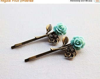 Holiday Sale Rose Hairpins Set. branch accessory. mint green flower bobbypins. vintage wedding. bridesmaid. bridal