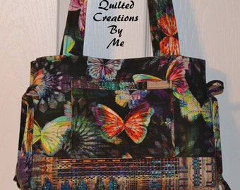 Butterfly  Quilted Bag Quilted Purse Quilted Bow Bag Handbag Tote Bag by Quilted Creations By Me