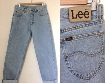 Vintage unisex 1990s LEE high-waisted jeans / stonewash high-rise vintage Lee denim 31-30
