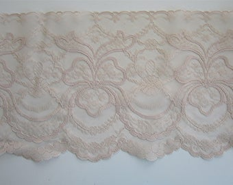 "VINTAGE Extra Wide Flat Flesh Nude Scalloped Lace 7"" Wide Lingerie, Wedding Lace"