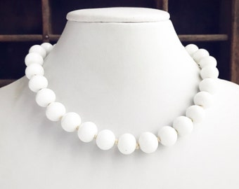 Vintage Choker with Hand Knotted White Glass Beads