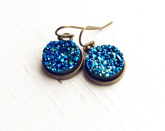 Faux Druzy Earrings / Bridesmaids Gifts Bridal Party Wedding Shower Favors on a Budget Boho Bohemian Lover Blue Gypsy Style Hippie Sparkly