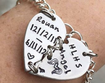 Personalized Hand stamped HLHS warrior necklace