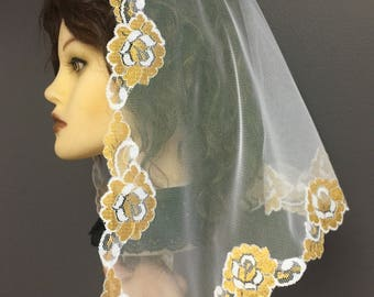 New - White Gold -- lace church mantilla veil scarf - floral- scalloped- very pretty -