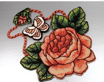 Holiday Sale Bead Embroidered Statement necklace Glowing Peace Rose