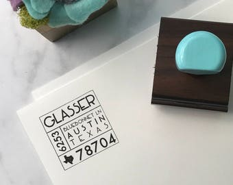 Mid Century Modern Return Address Stamp, Wedding Rubber Stamp, Personalized Address, Robins Egg Stamp, Painted Wooden Handle, Self Inking