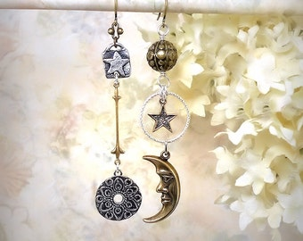 Sun Moon Star Mismatch Earrings Mixed Metals Cosmic Earrings Celestial Charms Festival Jewelry Gold Silver Moonlight Night Wedding Astronomy