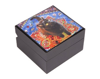 Keepsake Box, Black Cat Art, Cat Lover Gift, Memory Box, Wooden Box, Cat Artwork, Pet Memorial, Deborah Julian