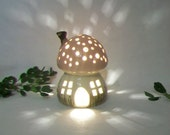 Fairy House/Night Light - Pink  Roof, Chimney, Mushroom Style, Starry Sky - Hand Painted Pasture Grass  - Ready to Ship - Light Options