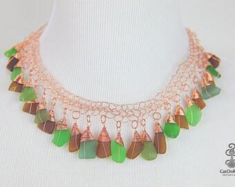 SALE, Handmade Sea Glass Jewelry, Unique Jewelry, Crochet Sea Glass Necklace,  Crochet, Sea Glass Jewelry, Handmade Jewelry, Crochet Jewelry