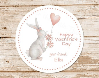 valentine's day tags or stickers . bunny, flowers, heart balloon . watercolor . personalized . favor tags, gift tags . set of 12