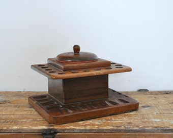 Vintage Build-Rite Pipe Stand and Humidor 14 Pipes Wooden Holder