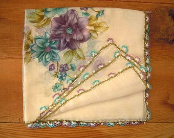 White scarf with needle lace trim, lilac turquoise oya
